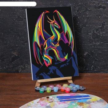 Картина по номерам на холсте с подрамником «дракон» 20х30 см