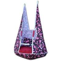 Качели-гамак большие розовые сердечки с декоративными подушками