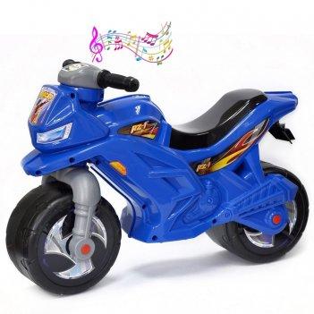 Ор501в3 каталка-мотоцикл беговел racer rz 1 с музыкой, цвет синий