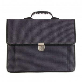 Портфель деловой ткань 380х290х10 мм «сосново» серый , с плечевым ремнем