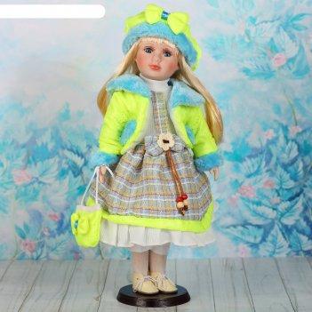 Кукла коллекционная цветана в нежно-зелёном 40 см
