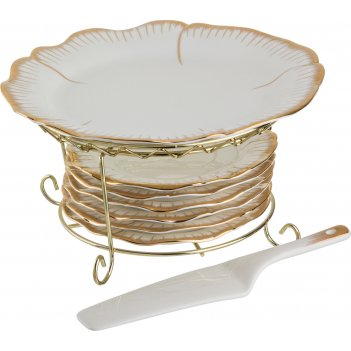 Набор для торта цветочная симфония 8пр.: блюдо+6 тарелок+лопатка диаметр=2