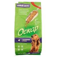 Сухой корм оскар для взрослых собак, с цыпленком и рисом, 2 кг