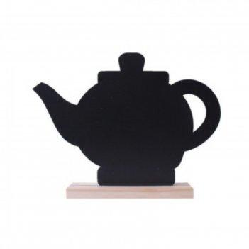 Табличка для надписей меловым маркером чайник, 384х244, цвет чёрный