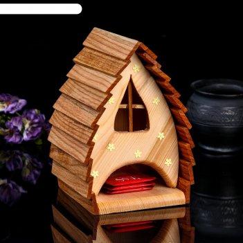 Чайный домик домик зайчихи, 14*14*21см; материал: дуб, сосна; покрытие: ак