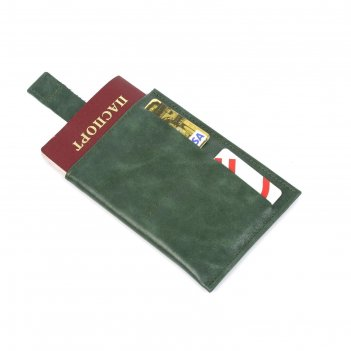 Обложка-футляр для паспорта, 2 кармана для карт, 1 для денег, малахит крек