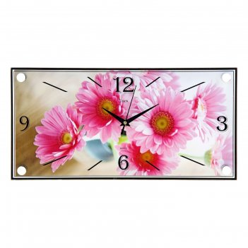 Часы настенные, серия: цветы, розовые цветы, 19х39  см, микс