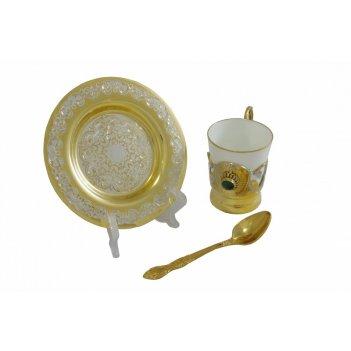 Набор кофейный с малахитом  (тарель, чашка, ложка)