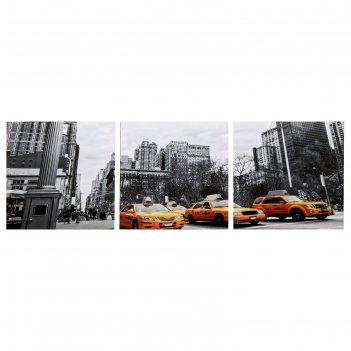 Модульная картина движение мегаполиса (3-35х35) 35х105 см