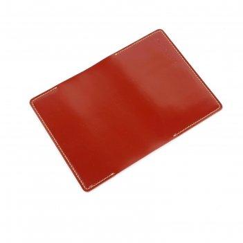 Обложка для паспорта, 3 кармана, красный гладкий