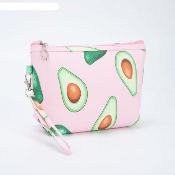 Косметичка-сумочка, отдел на молнии, с ручкой, цвет светло-розовый, «авока