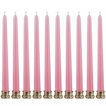 Набор свечей из 10 шт.высота=29 см.нежно-розовый