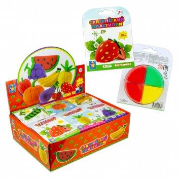 Суперлёгкий пластилин фрукты, овощи и ягоды 30 гр, 3 цвета, 11 видов в д б