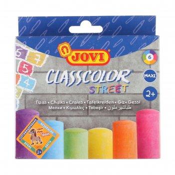 Мелки цветные 6 штук jovi круглые в коробе, европодвес 1030