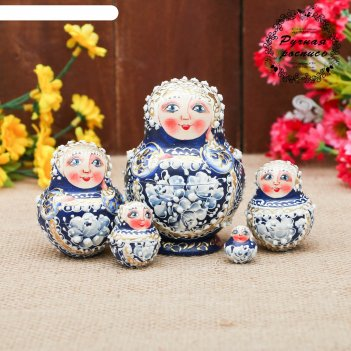 Матрёшка «ажурная красавица», синее платье, 5 кукольная, 10 см