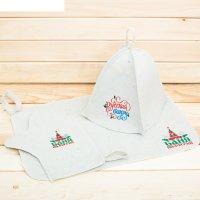 Банный набор поддай жару в русской бане!: шапка, коврик, рукавица
