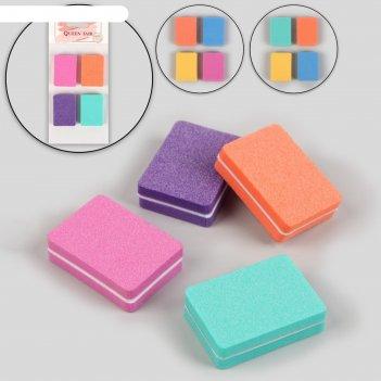 Набор наждачных бафов для ногтей, двусторонние, 4 шт, 4 см, цвет микс