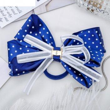 Резинка для волос бант школьница 14 см, белый горошек, синий