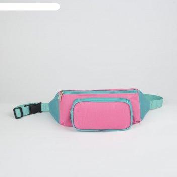 Сумка поясная на молнии, 1 отдел, наружный карман, цвет розовый/бирюзовый