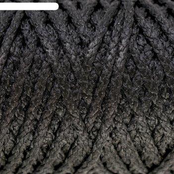Шнур для вязания без сердечника 100% полиэфир ширина 4мм 100м (черный)