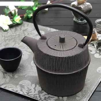 Чайник с ситом 1 л футун, цвет коричневый