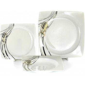 Набор столовый белый квадрат «роза», 18 предметов