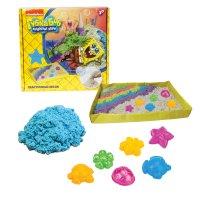 1toy губка боб, космический песок, голубой, 1 кг, набор песочница и формоч