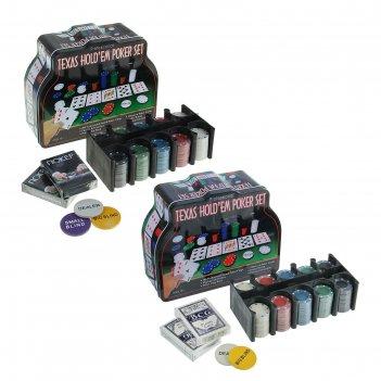 Игра, набор для покера (200 фишек, 2 колоды карт, сукно), в жестяной короб
