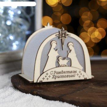 Настольный фонарик рождественский «вертеп», 8,5 х 6,5 см
