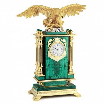 Каминные часы орел камень малахит