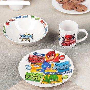 Набор посуды детский «герои в масках. команда», 3 предмета