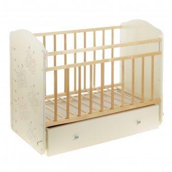 Детская кроватка «морозко. бабочки» с ростомером, на маятнике, с ящиком, ц
