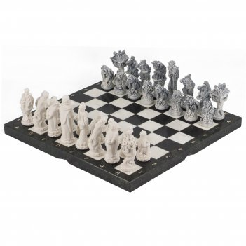 Шахматы русские сказки змеевик мрамолит 400х400 мм