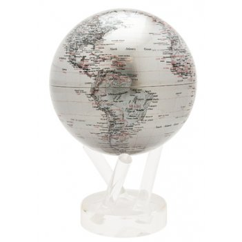 Глобус мобиле d16,5 см с  политической картой мира, цвет серебро