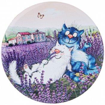Подставка под кружку синие коты. лаванда, диаметр 9,5 см