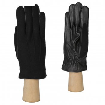Перчатки мужские, натуральная кожа/шерсть (размер 9.5) черный