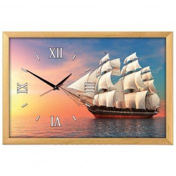 Настенные часы из песка династия 03-156 корабль