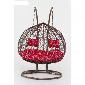 Подвесное кресло, с подушкой, искусственный ротанг, коричневое, 44-002-01