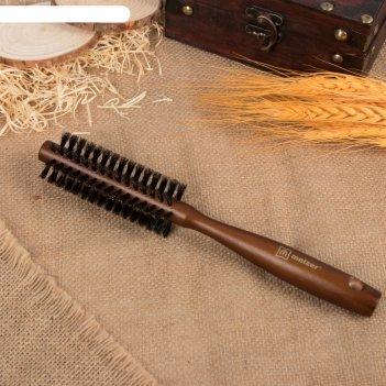 Брашинг деревянный, натуральная щетина, d = 3,5 см, цвет «тёмное дерево»