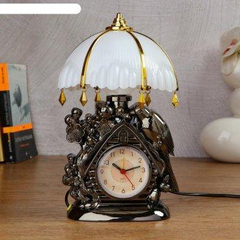 Часы-светильник домик  с будильником,1 аа, дискретный ход, 12.5х5х25 см