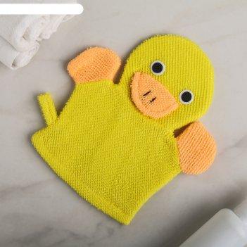 Мочалка-варежка детская с петелькой уточка