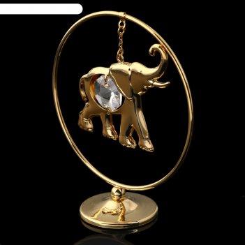 Сувенир слон в кольце с хрусталиками сваровски
