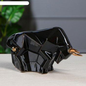 Копилка-оригами бык, черный с золотом, 17 см
