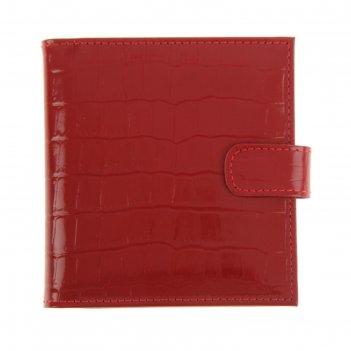Визитница, 2 ряда, 16 листов на 64 карточки, красный крокодил