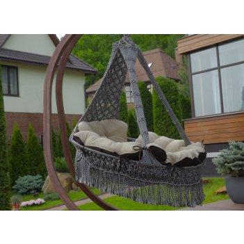 Подвесное плетеное кресло cartagena цвет серебристо-черный