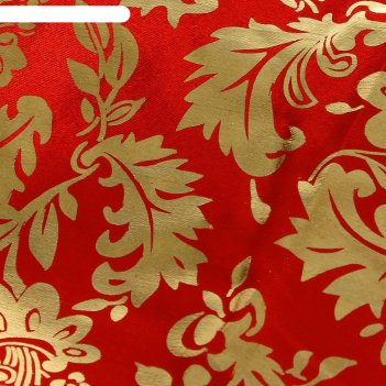 Ткань атлас золотой узор на красном
