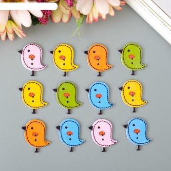 Пуговицы декоративные птички, набор 12 шт.