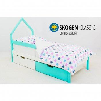Детская кровать-домик мини svogen мятно-белый