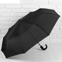 Зонт полуавтоматический, 3 сложения, 9 спиц, r = 49 см, цвет чёрный