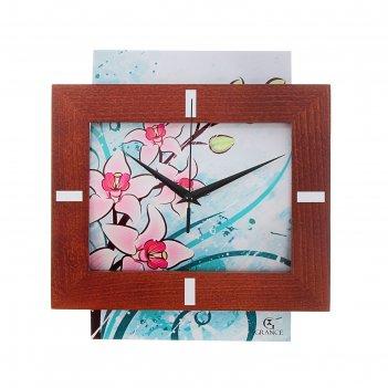 Часы настенные grance, цветок, венге